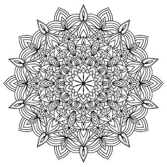 Motif de mandala en dentelle monochrome doodle