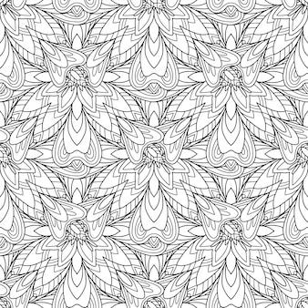 Motif de mandala de fleurs tout noir et blanc vinatge