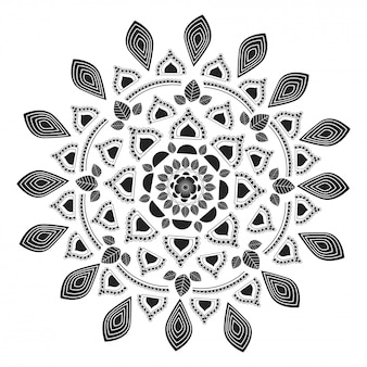 Motif de mandala floral ethnique utilisé comme mehndi, tatouage ou coloriage anti-stress.