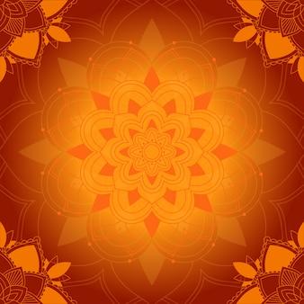 Motif de mandala sur fond orange