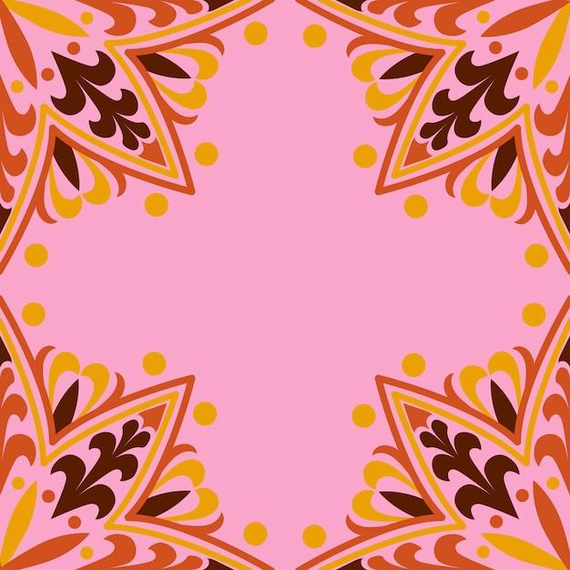 Motif mandala sur fond rose