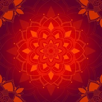 Motif mandala sur fond rouge