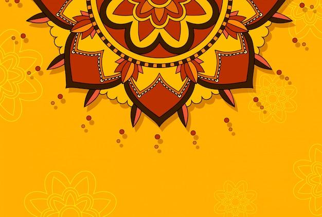 Motif de mandala sur orange