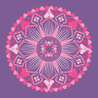 Motif de mandala rose sur fond violet