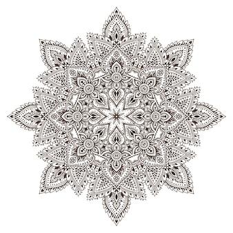Motif de mandala vectoriel d'éléments floraux au henné basés sur des ornements asiatiques traditionnels. illustration de doodle tatouage paisley mehndi
