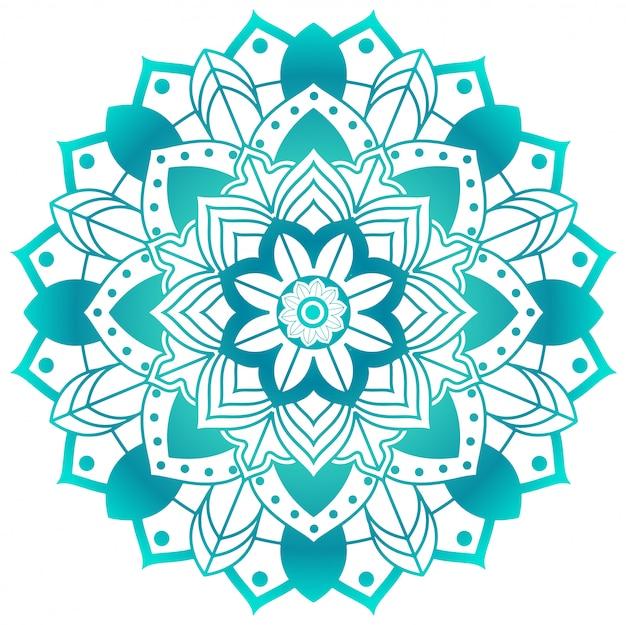Motif mandala en vert aqua