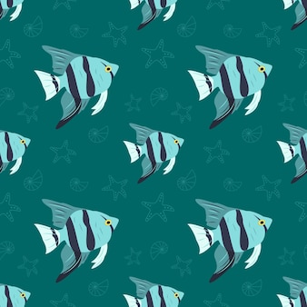 Motif marin avec étoile de mer de poisson