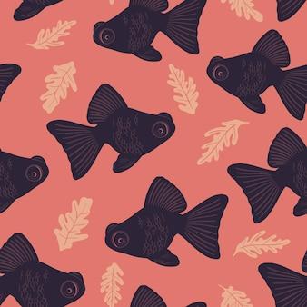 Motif marin sans soudure de vecteur avec des poissons vie océanique et créatures marines fond nautique