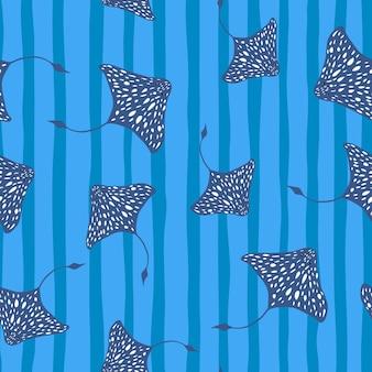 Motif Marin Tropical Sans Couture Avec Des Formes De Raies Tachetées Aléatoires Bleu Marine Vecteur Premium