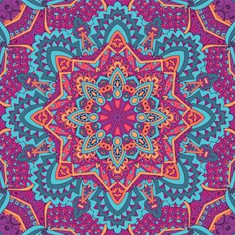Motif médaillon paisley floral indien avec mandala dans un style doodle dessiné à la main
