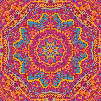 Motif médaillon paisley floral indien avec mandala modèle sans couture festival coloré