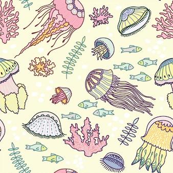 Motif de méduses dessiné à la main