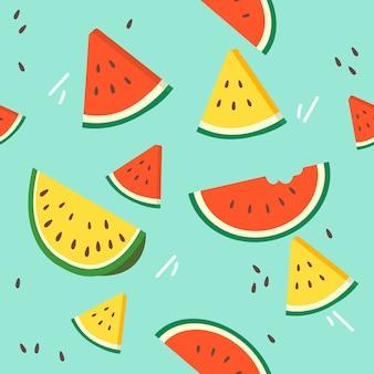 Motif de melon d'eau en tranches sur le fond.