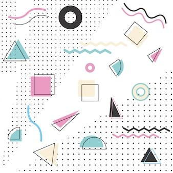 Motif memphis styles des années 80-90 sur fond blanc.