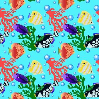 Motif de mer poisson sans soudure