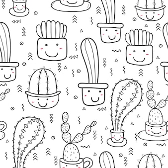 Motif mignon de cactus sans soudure. illustrations vectorielles pour la conception d'emballages cadeaux.