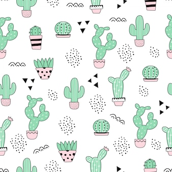 Motif mignon de cactus sans soudure