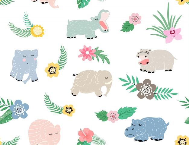 Motif mignon d'éléphant et d'hippopotame