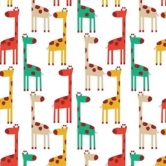 Motif mignon de girafe colorée