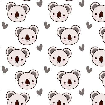 Motif mignon de koala avec coeur