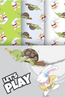 Motif mignon de lapin et tortue