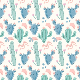 Motif mignon avec des plantes de cactus