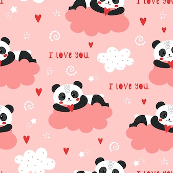 Motif mignon de valentines avec panda.