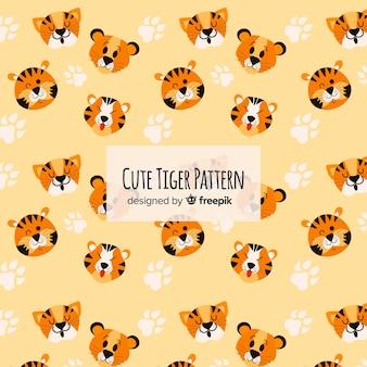 Motif mignon de visage de tigre