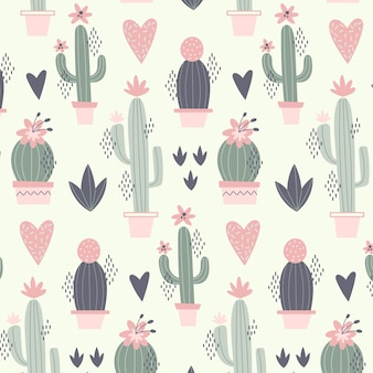Motif minimal avec des plantes de cactus