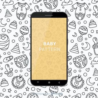 Motif mobile bébé dessiné à la main