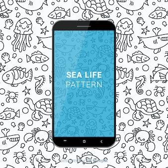 Motif mobile de la vie de mer dessiné main