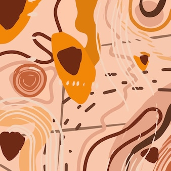 Motif de mode abstrait avec des formes organiques, des taches, des lignes, des points, dans des tons marron pastel doux.