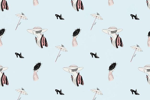 Motif de mode parisien vintage féminin, remix d'œuvres d'art de george barbier