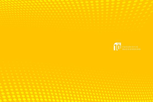 Motif moderne points fond de perspective de demi-teinte de couleur jaune.