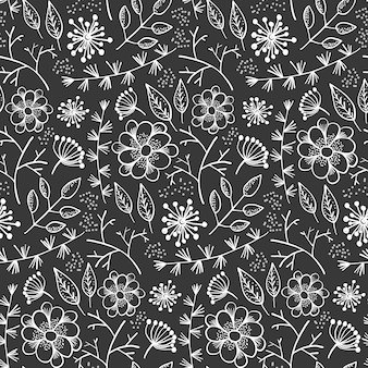 Motif monochrome avec contour fleurs et herbes
