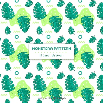 Motif monstera dessiné à la main