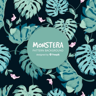 Motif monstera dessiné à la main