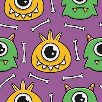 Motif de monstres de dessin animé doodle kawaii