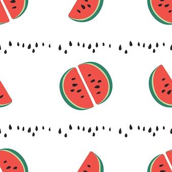 Motif de morceaux de pastèque sucrée et juteuse, tranches de pastèque avec des graines fond de vecteur. motif de répétition tendance moderne avec pastèque