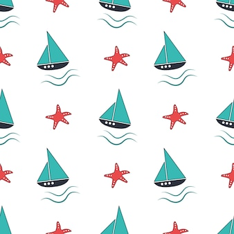 Motif nautique d'été avec des vagues de navires et des étoiles de mer.
