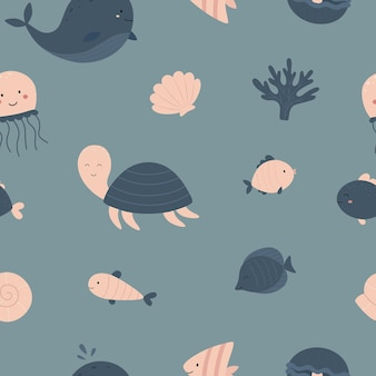 Motif nautique sans couture vie marine coquille corail méduse poisson baleine tortue