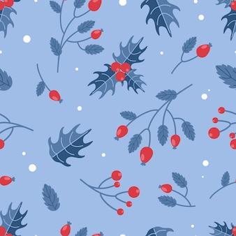 Motif de noël baies d'hiver houx d'églantier rouge et bleu pour l'emballage de tissu de papier peint