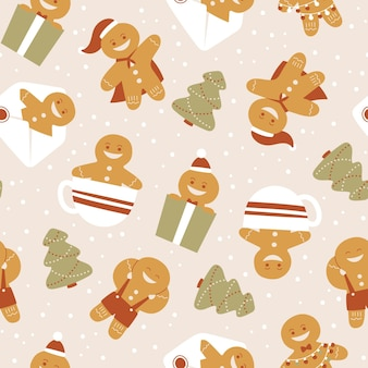 Motif de noël drôle avec biscuit de pain d'épice
