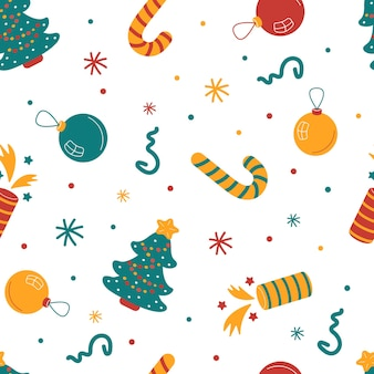 Motif de noël sans couture avec arbres festifs, décorations, bonbons.