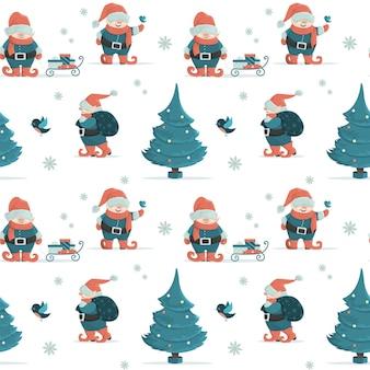 Motif de noël sans couture avec des nains de fées, un arbre de noël et des cadeaux. illustration de style dessin animé.
