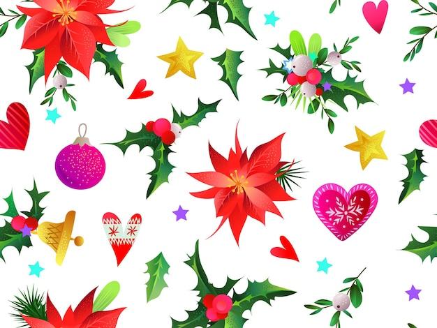 Motif de noël sans couture avec verdure, boules et étoiles