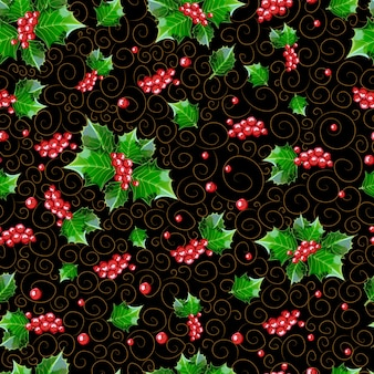 Motif de noël sans soudure de baies et de feuilles de houx