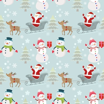 Motif de noël santa bonhomme de neige et de cerfs