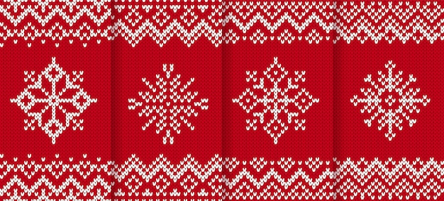 Motif de noël en tricot. arrière-plan transparent rouge. illustration vectorielle.