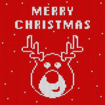 Motif De Noël Tricoté Avec Une Jolie Tête De Cerf Vecteur Premium